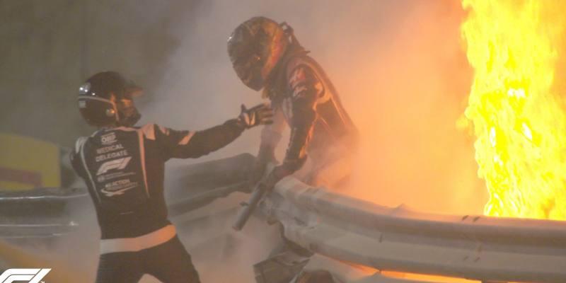 Il brutto incidente del pilota di Formula 1 Romain Grosjean