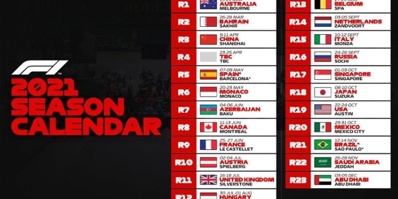 Formula 1: il calendario ufficiale 2021