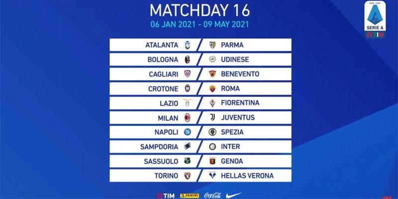 Sedicesima giornata di Serie A 2020/2021: orari, dove vederle in TV e risultati
